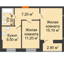 2 комнатная квартира 50,2 м² в ЖК Куйбышев, дом № 15 - планировка