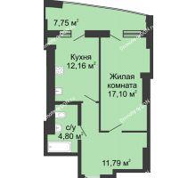 1 комнатная квартира 53,6 м² в ЖК Тихий Дон, дом № 2 - планировка