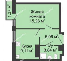 1 комнатная квартира 34,6 м², ЖК Соборный - планировка