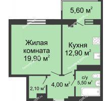 1 комнатная квартира 50 м², ЖК Нахичевань - планировка