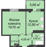 1 комнатная квартира 46,1 м², ЖК Нахичевань - планировка