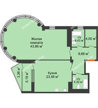 1 комнатная квартира 93,29 м² в ЖК Renaissance (Ренессанс), дом № 1 - планировка