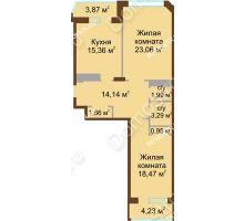 2 комнатная квартира 82,97 м² в ЖК Дворянский, дом № 1 - планировка