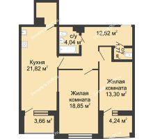 2 комнатная квартира 83,27 м² в ЖК Тихий Дон, дом № 2 - планировка