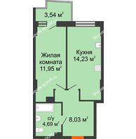1 комнатная квартира 39,73 м² в ЖК Сердце Ростова 2, дом Литер 8 - планировка