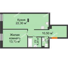 1 комнатная квартира 52,1 м² в ЖК Заречье, дом № 7 - планировка