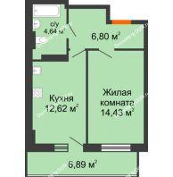 1 комнатная квартира 40,56 м² в ЖК Свобода, дом № 1 - планировка