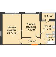 2 комнатная квартира 62,79 м² в ЖК Микрорайон Боровое, дом № 14 - планировка