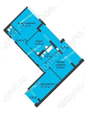 3 комнатная квартира 116,07 м² в ЖК Воскресенская слобода, дом №1