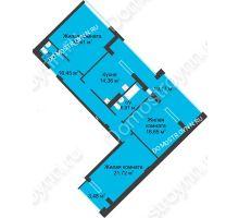 3 комнатная квартира 116,07 м² в ЖК Воскресенская слобода, дом №1 - планировка