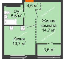 1 комнатная квартира 40,4 м², ЖК Лайнер на Барминской - планировка