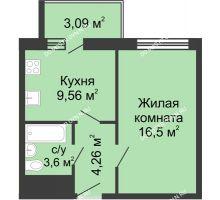 1 комнатная квартира 37 м² - ЖК Алый Парус