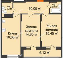 2 комнатная квартира 65,54 м² в Макрорайон Амград, дом №1 - планировка