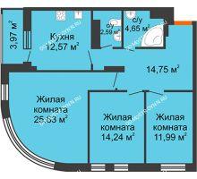 3 комнатная квартира 88,4 м², ЖК Командор - планировка