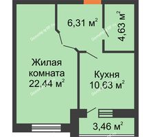 1 комнатная квартира 45,74 м², ЖК Парк Металлургов - планировка