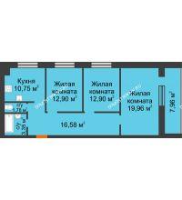 3 комнатная квартира 82,2 м² в ЖК Парк Горького, дом 62/18, № 6 - планировка