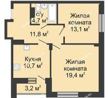 2 комнатная квартира 60,7 м² в ЖК Цветы, дом № 20 - планировка