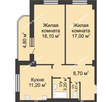 2 комнатная квартира 61,8 м², ЖК 8 марта - планировка