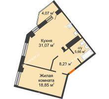 2 комнатная квартира 65,8 м², ЖК Столица - планировка