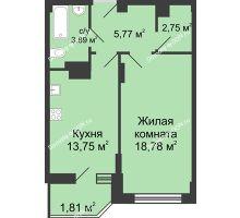 1 комнатная квартира 46,76 м² в ЖК Сердце Ростова, дом Этап II