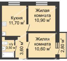 2 комнатная квартира 41,14 м² в ЖК Корабли, дом № 11 - планировка