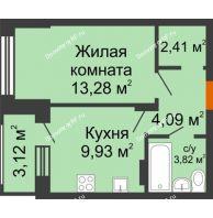1 комнатная квартира 35,09 м² в ЖК Суворов-Сити, дом 2 очередь секция 1-5 - планировка