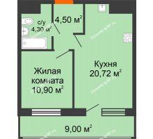 1 комнатная квартира 49,4 м², ЖК Дом № II-3 в мкр. Елецкий - планировка