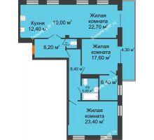 3 комнатная квартира 119,9 м², ЖК Art House - планировка