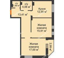 2 комнатная квартира 67,82 м² в ЖК Континент, дом № 16 - планировка