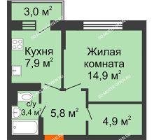 1 комнатная квартира 37,8 м² в ЖК Жюль Верн, дом № 1 корпус 2 - планировка