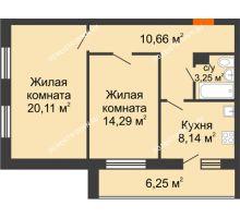 2 комнатная квартира 62,7 м² в ЖК Добрый, дом № 1