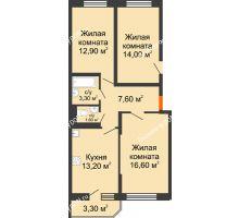 2 комнатная квартира 56,9 м² в ЖК Южный Берег, дом Литер 4 - планировка