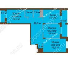 3 комнатная квартира 99,5 м² в ЖК Монолит, дом № 89, корп. 1, 2 - планировка