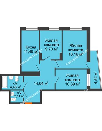 3 комнатная квартира 70,48 м² - Жилой дом Звездный