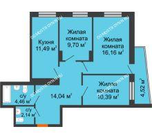 3 комнатная квартира 70,48 м², Жилой дом Звездный - планировка