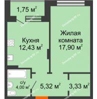 1 комнатная квартира 44,73 м² в ЖК Суворов-Сити, дом 1 очередь секция 6-13 - планировка