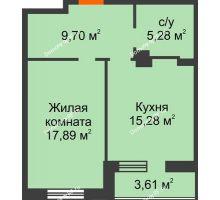 1 комнатная квартира 51,76 м² в ЖК Континент, дом № 16 - планировка