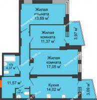 3 комнатная квартира 76,56 м² в ЖК Сердце Ростова 2, дом Литер 8 - планировка