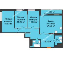 3 комнатная квартира 85,64 м², ЖК Каскад на Менделеева - планировка