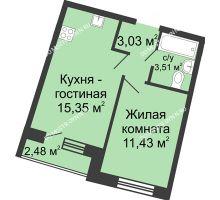 1 комнатная квартира 34,39 м² в ЖК Ватсон, дом № 5 - планировка