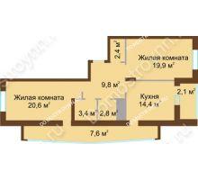 2 комнатная квартира 83 м² в ЖК Монолит, дом № 89, корп. 1, 2 - планировка