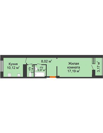1 комнатная квартира 42,43 м² в ЖК Облака, дом № 2