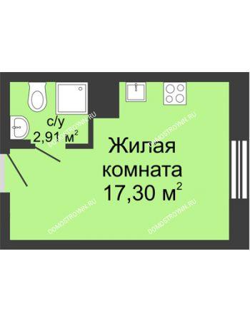 Студия 20,21 м² в ЖК Красная поляна, дом № 6