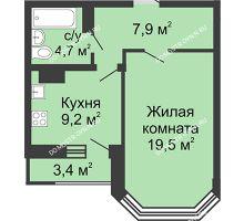 1 комнатная квартира 42,7 м² в ЖК Цветы, дом № 20 - планировка