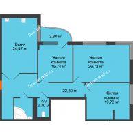 Студия 120,8 м², Жилой дом на ул. Платонова, 9,11 - планировка
