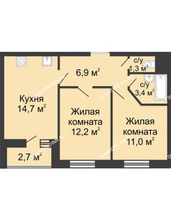 2 комнатная квартира 50,85 м² в ЖК Цветы, дом № 10