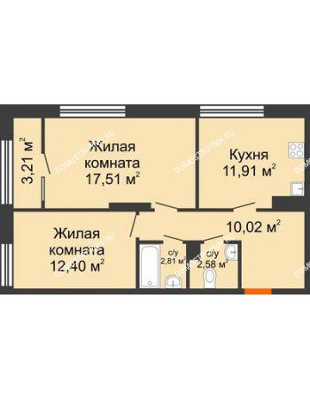 2 комнатная квартира 58,84 м² в ЖК Маленькая страна, дом № 4