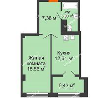 1 комнатная квартира 49,06 м² в ЖК СИТИДОМ, дом 4 очередь,корпус 3 - планировка