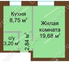 1 комнатная квартира 34,47 м² - ЖК Любимый