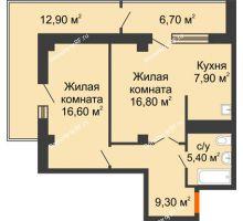 2 комнатная квартира 63,3 м² в ЖК Взлетная 7, дом 1-2 корпус - планировка